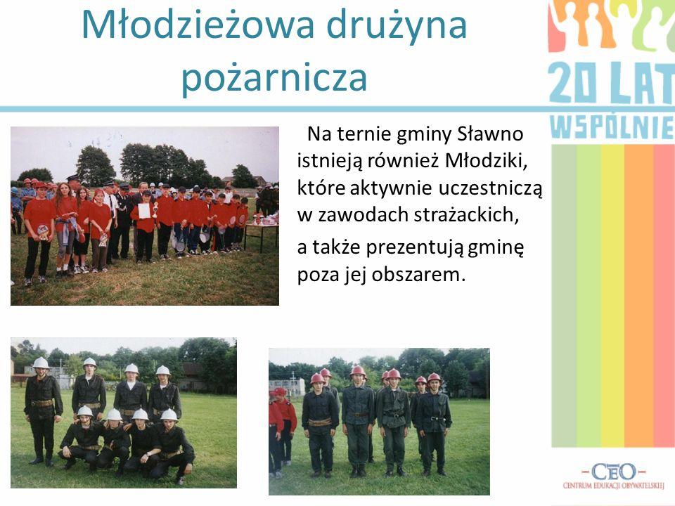 Młodzieżowa drużyna pożarnicza Na ternie gminy Sławno istnieją również Młodziki, które aktywnie uczestniczą w zawodach strażackich, a także prezentują gminę poza jej obszarem.