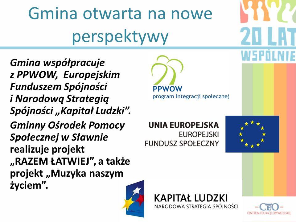 Gmina otwarta na nowe perspektywy Gmina współpracuje z PPWOW, Europejskim Funduszem Spójności i Narodową Strategią Spójności Kapitał Ludzki. Gminny Oś