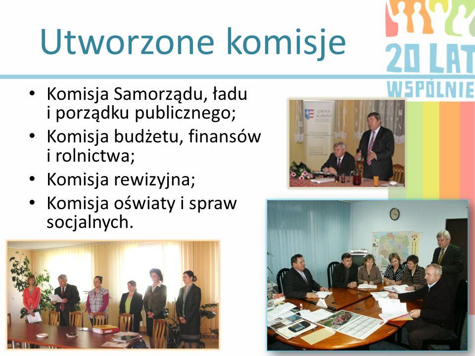 Utworzone komisje Komisja Samorządu, ładu i porządku publicznego; Komisja budżetu, finansów i rolnictwa; Komisja rewizyjna; Komisja oświaty i spraw so