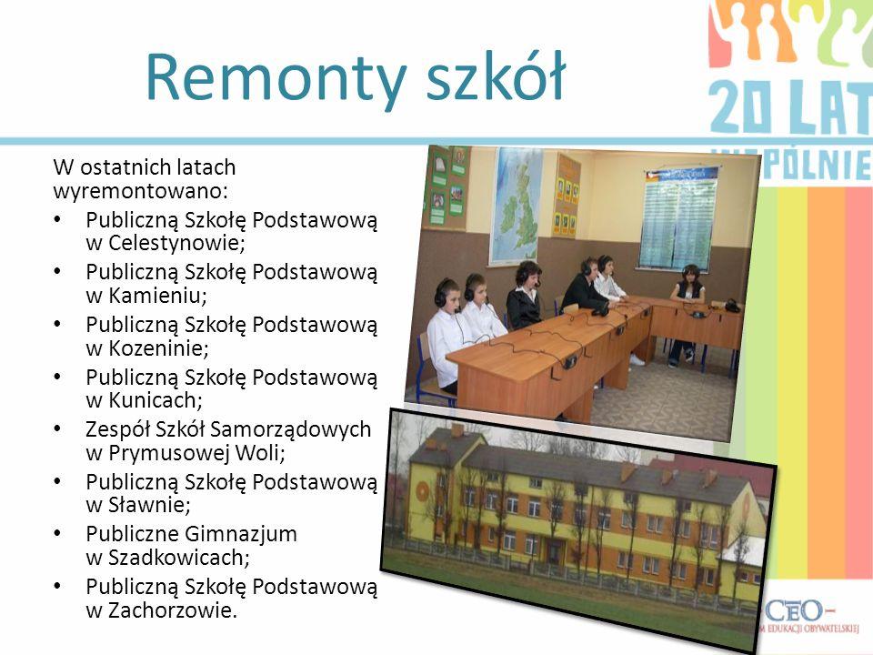 Remonty szkół W ostatnich latach wyremontowano: Publiczną Szkołę Podstawową w Celestynowie; Publiczną Szkołę Podstawową w Kamieniu; Publiczną Szkołę P