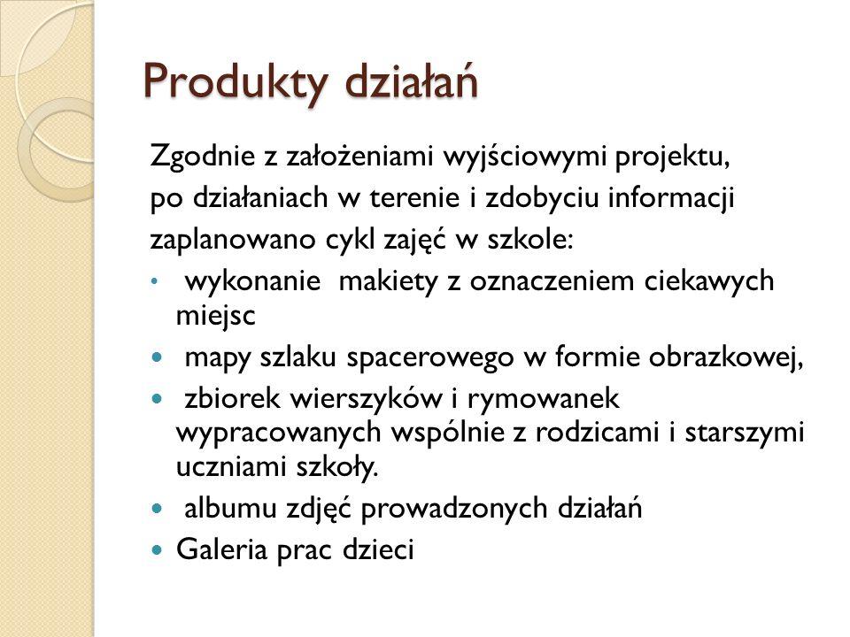 Produkty działań Zgodnie z założeniami wyjściowymi projektu, po działaniach w terenie i zdobyciu informacji zaplanowano cykl zajęć w szkole: wykonanie