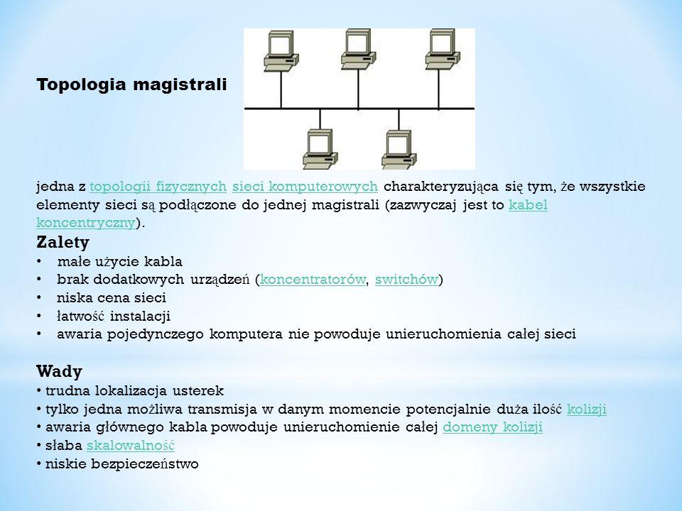 Topologia magistrali jedna z topologii fizycznych sieci komputerowych charakteryzuj ą ca si ę tym, ż e wszystkie elementy sieci s ą pod łą czone do je