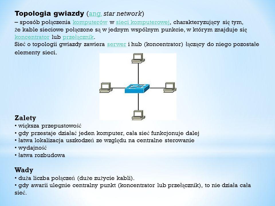 Topologia gwiazdy (ang. star network)ang. – sposób po łą czenia komputerów w sieci komputerowej, charakteryzuj ą cy si ę tym, ż e kable sieciowe po łą