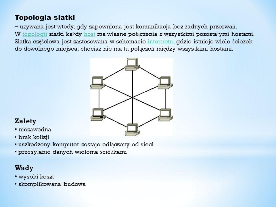 Topologia siatki – u ż ywana jest wtedy, gdy zapewniona jest komunikacja bez ż adnych przerwa ń. W topologii siatki ka ż dy host ma w ł asne po łą cze