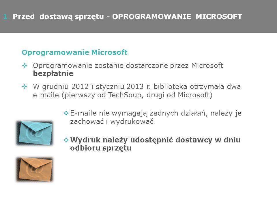 1. Przed dostawą sprzętu - OPROGRAMOWANIE MICROSOFT Oprogramowanie Microsoft Oprogramowanie zostanie dostarczone przez Microsoft bezpłatnie W grudniu