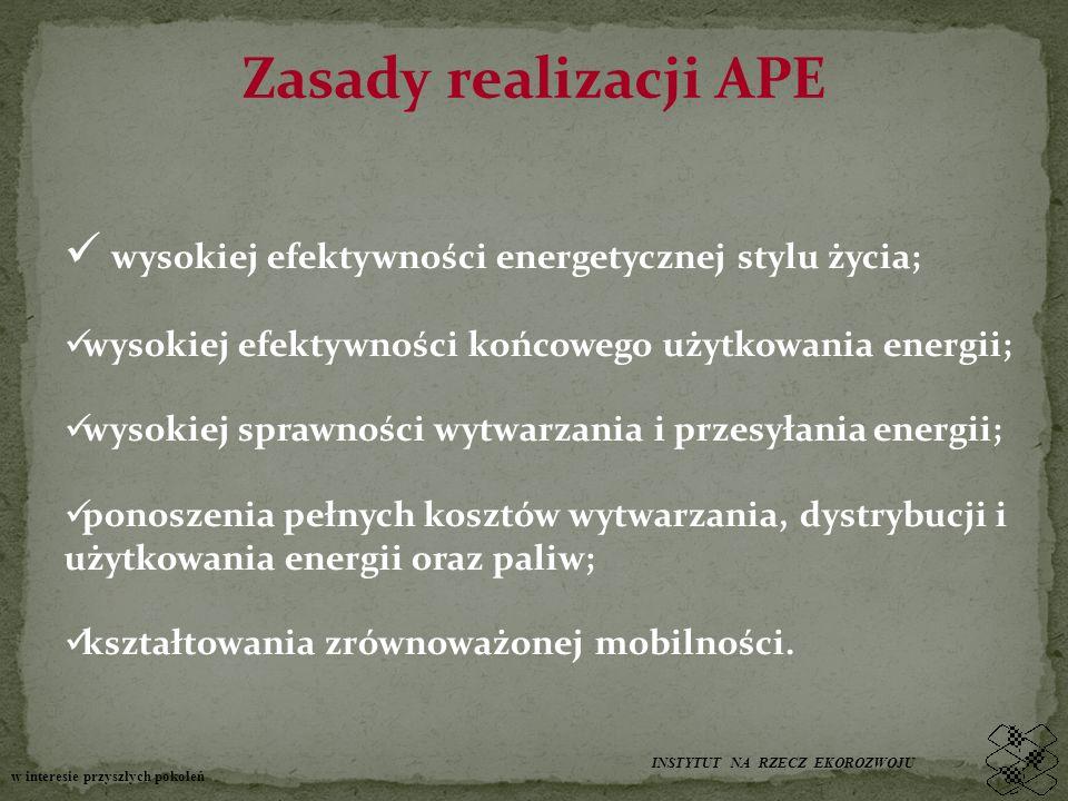 Zasady realizacji APE wysokiej efektywności energetycznej stylu życia; wysokiej efektywności końcowego użytkowania energii; wysokiej sprawności wytwarzania i przesyłania energii; ponoszenia pełnych kosztów wytwarzania, dystrybucji i użytkowania energii oraz paliw; kształtowania zrównoważonej mobilności.