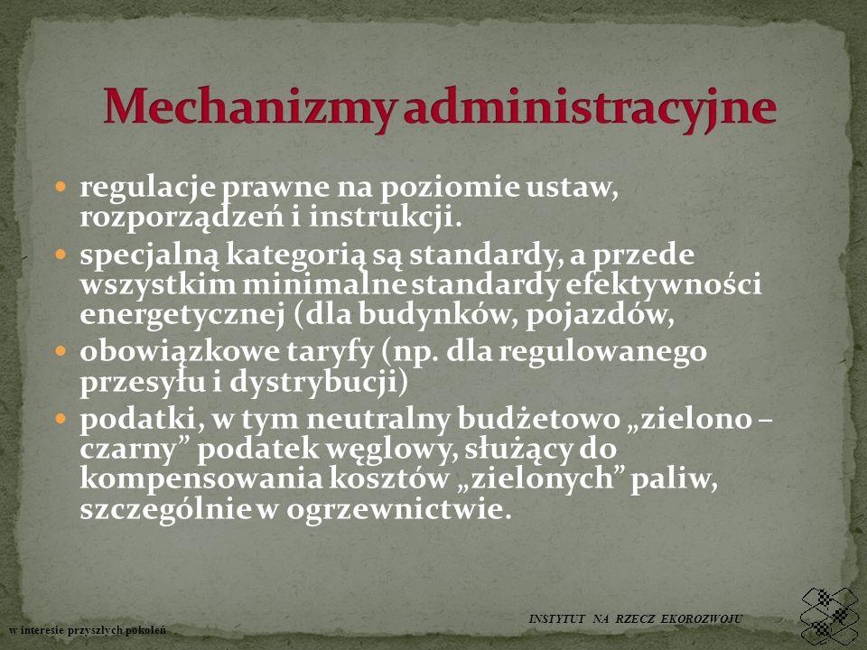 regulacje prawne na poziomie ustaw, rozporządzeń i instrukcji.