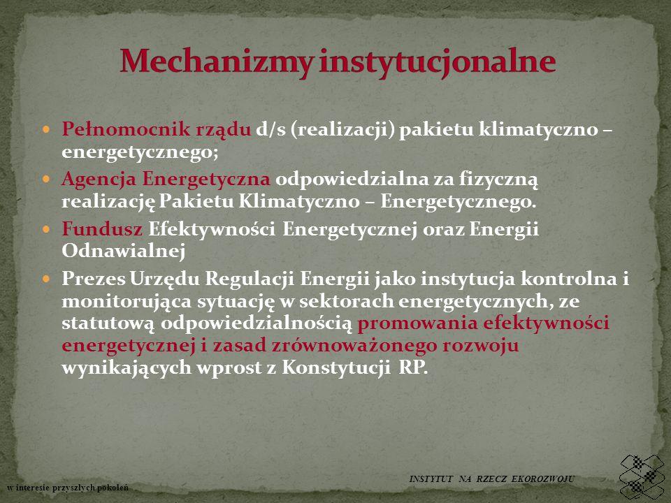 Pełnomocnik rządu d/s (realizacji) pakietu klimatyczno – energetycznego; Agencja Energetyczna odpowiedzialna za fizyczną realizację Pakietu Klimatyczn