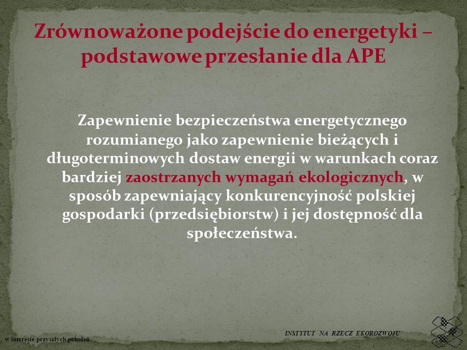 Zrównoważone podejście do energetyki – podstawowe przesłanie dla APE Zapewnienie bezpieczeństwa energetycznego rozumianego jako zapewnienie bieżących i długoterminowych dostaw energii w warunkach coraz bardziej zaostrzanych wymagań ekologicznych, w sposób zapewniający konkurencyjność polskiej gospodarki (przedsiębiorstw) i jej dostępność dla społeczeństwa.