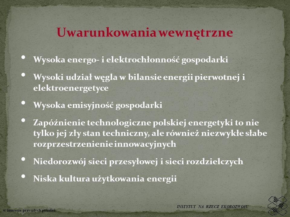 Uwarunkowania wewnętrzne Wysoka energo- i elektrochłonność gospodarki Wysoki udział węgla w bilansie energii pierwotnej i elektroenergetyce Wysoka emisyjność gospodarki Zapóźnienie technologiczne polskiej energetyki to nie tylko jej zły stan techniczny, ale również niezwykłe słabe rozprzestrzenienie innowacyjnych Niedorozwój sieci przesyłowej i sieci rozdzielczych Niska kultura użytkowania energii INSTYTUT NA RZECZ EKOROZWOJU w interesie przyszłych pokoleń