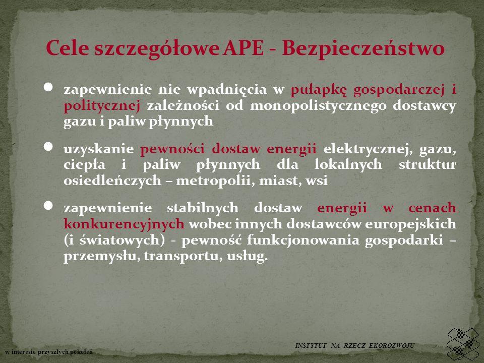 Cele szczegółowe APE - Bezpieczeństwo zapewnienie nie wpadnięcia w pułapkę gospodarczej i politycznej zależności od monopolistycznego dostawcy gazu i