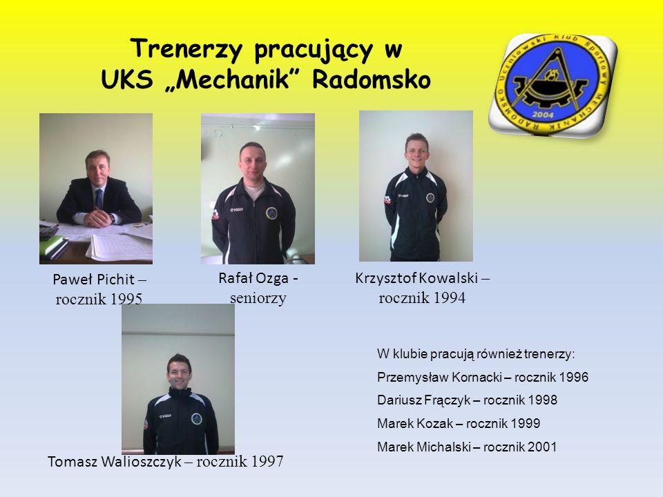 Trenerzy pracujący w UKS Mechanik Radomsko Paweł Pichit – rocznik 1995 Rafał Ozga - seniorzy W klubie pracują również trenerzy: Przemysław Kornacki –
