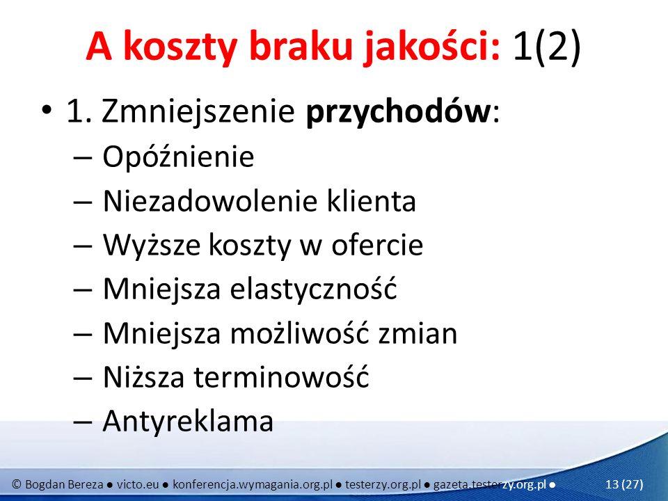 © Bogdan Bereza victo.eu konferencja.wymagania.org.pl testerzy.org.pl gazeta.testerzy.org.pl 13 (27) A koszty braku jakości: 1(2) 1. Zmniejszenie przy
