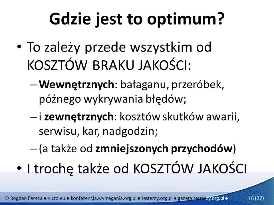 © Bogdan Bereza victo.eu konferencja.wymagania.org.pl testerzy.org.pl gazeta.testerzy.org.pl 16 (27) Gdzie jest to optimum? To zależy przede wszystkim