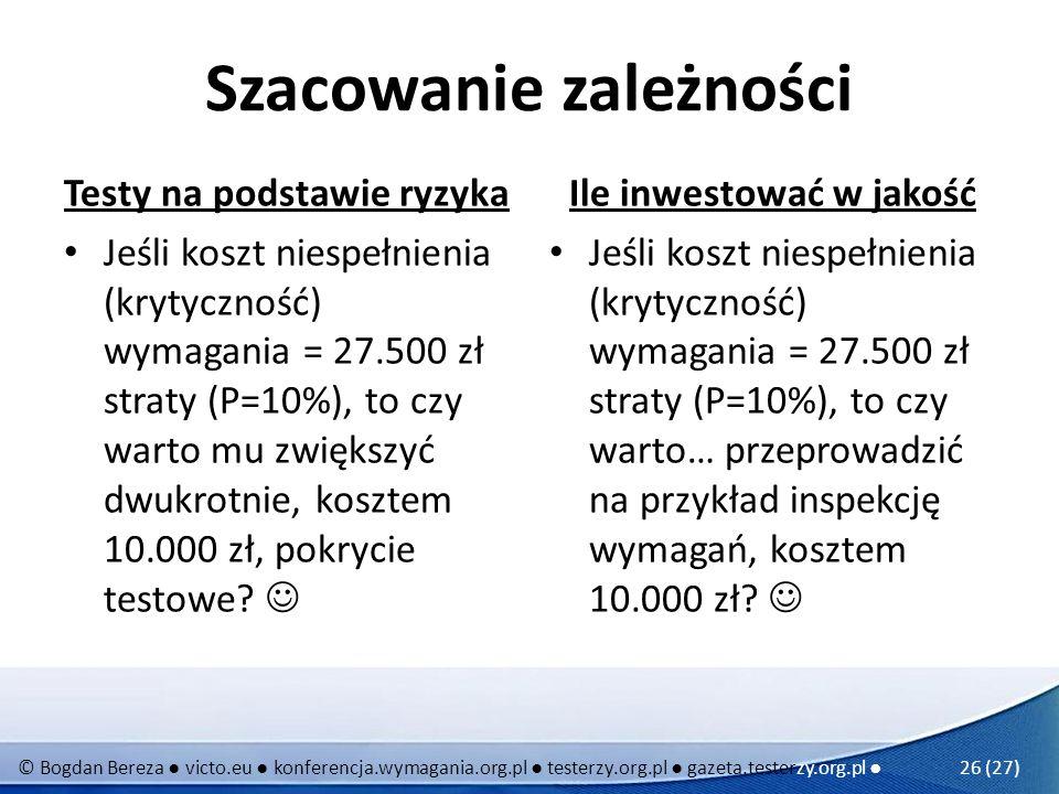 © Bogdan Bereza victo.eu konferencja.wymagania.org.pl testerzy.org.pl gazeta.testerzy.org.pl 26 (27) Szacowanie zależności Testy na podstawie ryzyka J