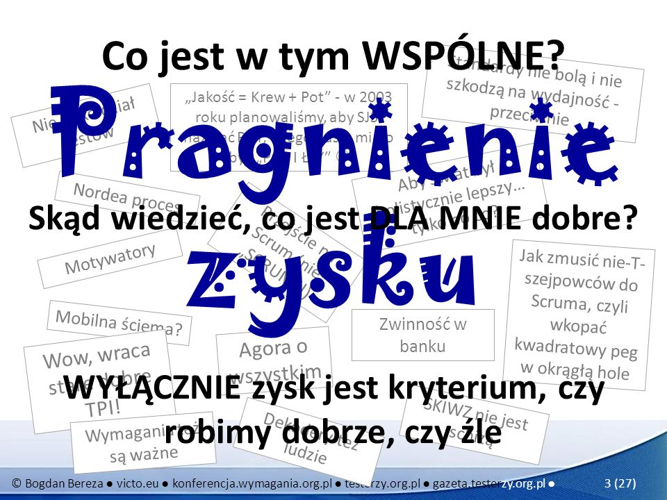 © Bogdan Bereza victo.eu konferencja.wymagania.org.pl testerzy.org.pl gazeta.testerzy.org.pl 24 (27) Podsumowanie Aby wyliczyć, gdzie jest 1.Oszacować koszty braku jakości (i chaosu, i awarii) 2.Oszacować koszty zapewnienia jakości 3.Oszacować skuteczność inwestycji (ROI) w dany rodzaj zapewnienia jakości Uwaga zależności: pomocne bywa TPI i inne modele dojrzałości złoty punkt:
