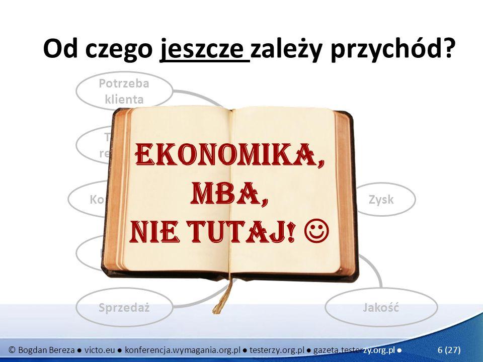© Bogdan Bereza victo.eu konferencja.wymagania.org.pl testerzy.org.pl gazeta.testerzy.org.pl 17 (27) Uciekaj ą cy złoty punkt optymalny koszt zapewnienia jakości koszty braku jakości 0 Gra na komórkę, program pisany dla własnej zabawyTaka sobie średnio-ważna aplikacjaWażna aplikacjaSystem bankowyRozrusznik serca Sterowanie elektrowni jądrowej