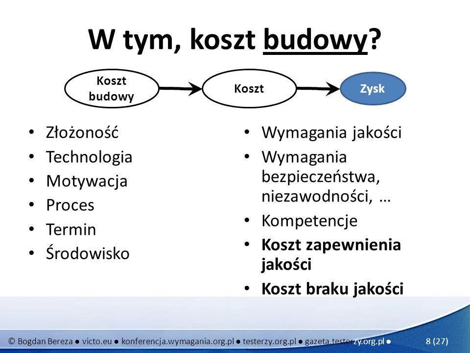 © Bogdan Bereza victo.eu konferencja.wymagania.org.pl testerzy.org.pl gazeta.testerzy.org.pl 8 (27) W tym, koszt budowy? Złożoność Technologia Motywac