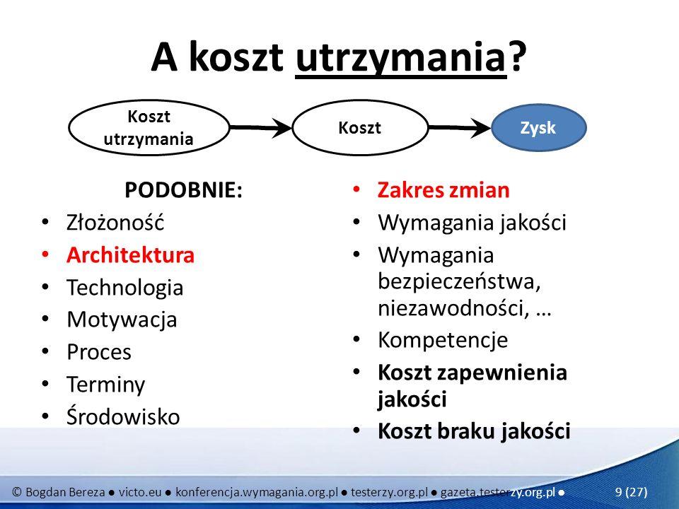 © Bogdan Bereza victo.eu konferencja.wymagania.org.pl testerzy.org.pl gazeta.testerzy.org.pl 9 (27) A koszt utrzymania? PODOBNIE: Złożoność Architektu