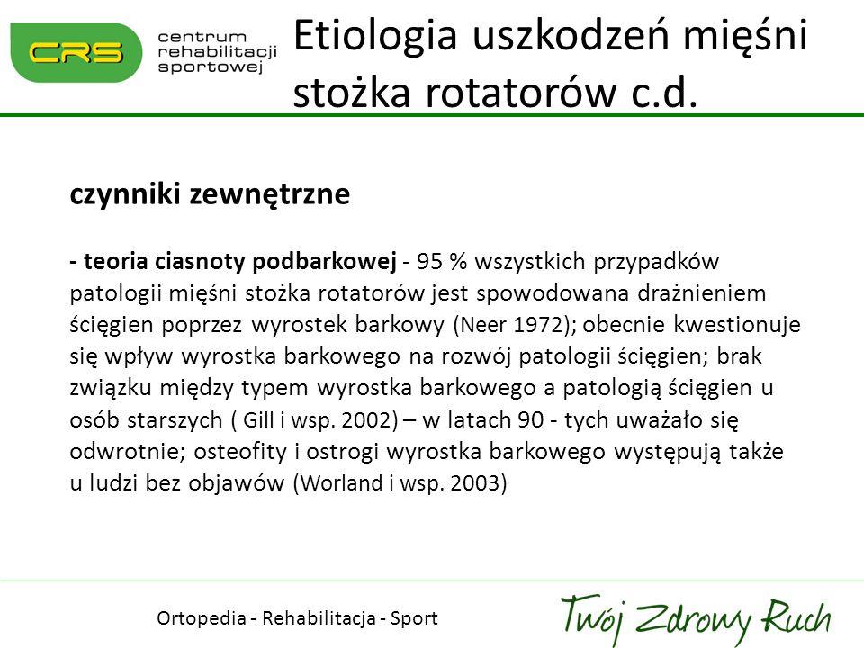 czynniki zewnętrzne - teoria ciasnoty podbarkowej - 95 % wszystkich przypadków patologii mięśni stożka rotatorów jest spowodowana drażnieniem ścięgien