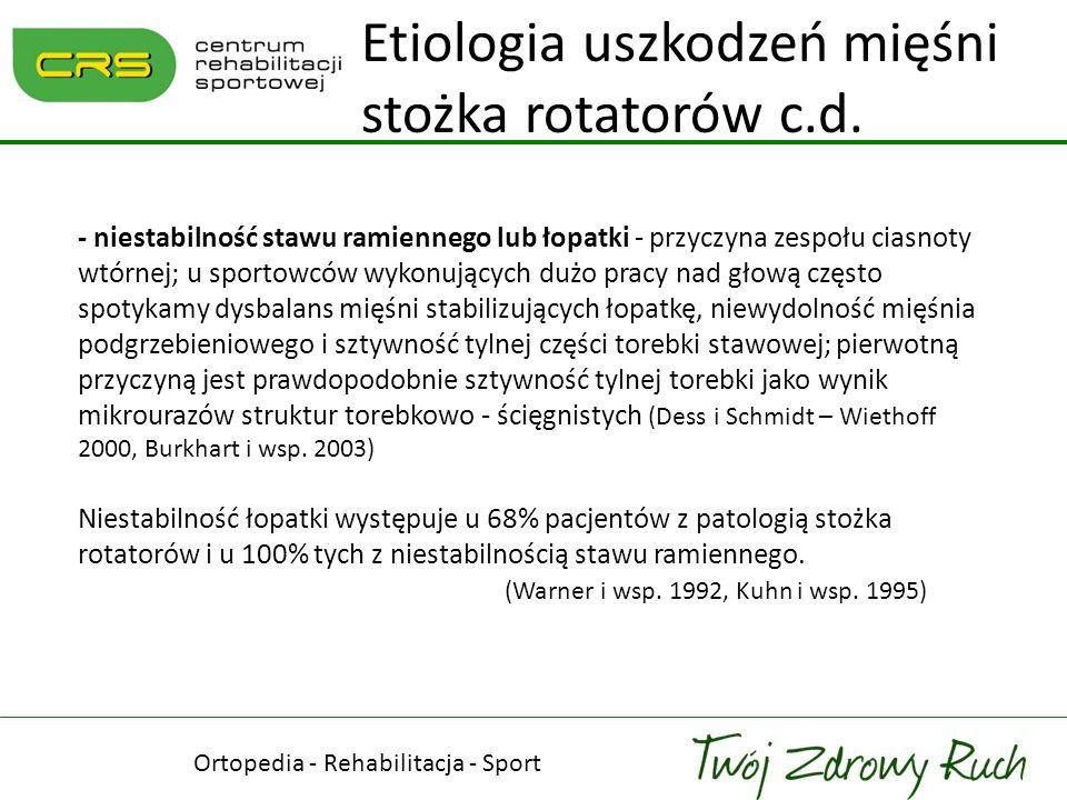 - zwiększona rotacja zewnętrzna - wywołana przez GIRD (Glenohumeral Internal Rotation Deficit), pozwala na lepsze rozpędzenie ramienia w ruchu serwisowym lecz zwiększa siły ścinające i skrętne w tylnym stożku rotatorów; dochodzi do uszkodzeń włókien od strony stawowej (Jobe 1995, Morgan i wsp.