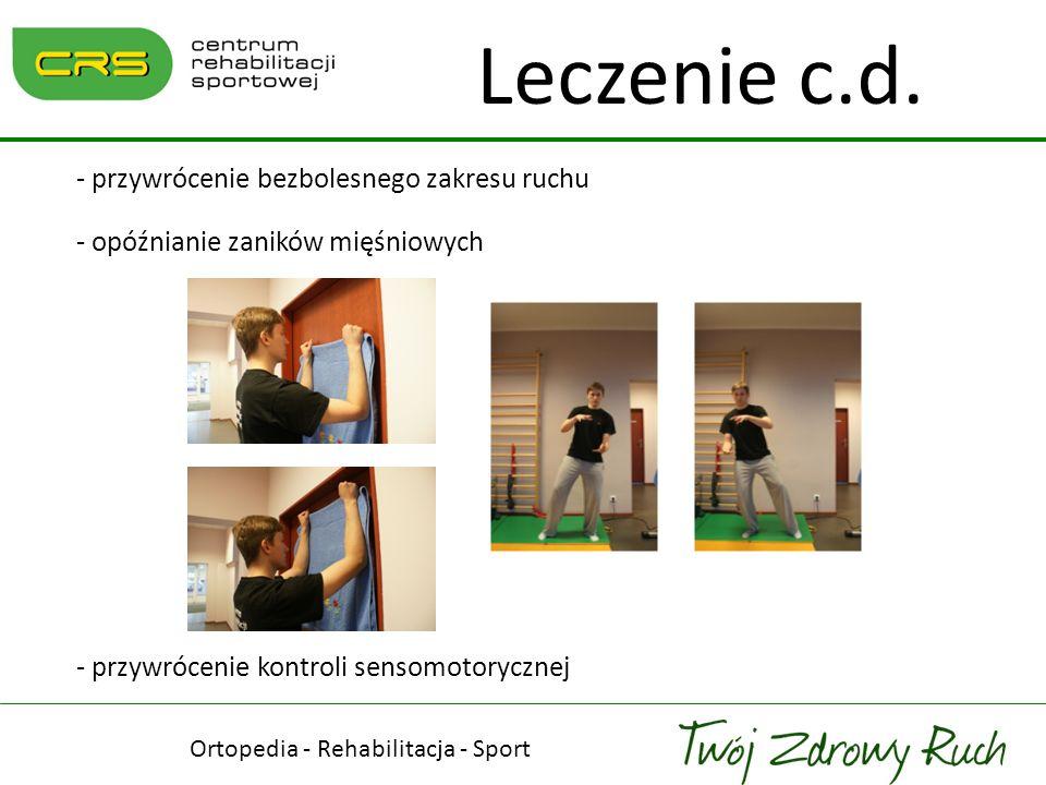 Ortopedia - Rehabilitacja - Sport Leczenie c.d. - przywrócenie bezbolesnego zakresu ruchu - opóźnianie zaników mięśniowych - przywrócenie kontroli sen