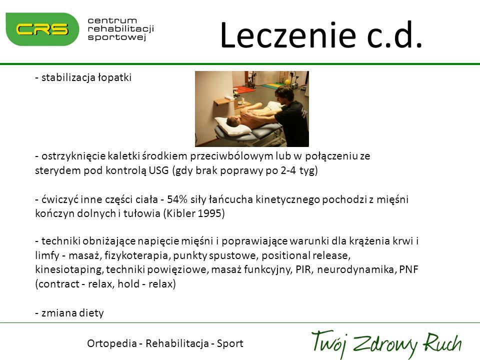Ortopedia - Rehabilitacja - Sport Leczenie c.d. - stabilizacja łopatki - ostrzyknięcie kaletki środkiem przeciwbólowym lub w połączeniu ze sterydem po
