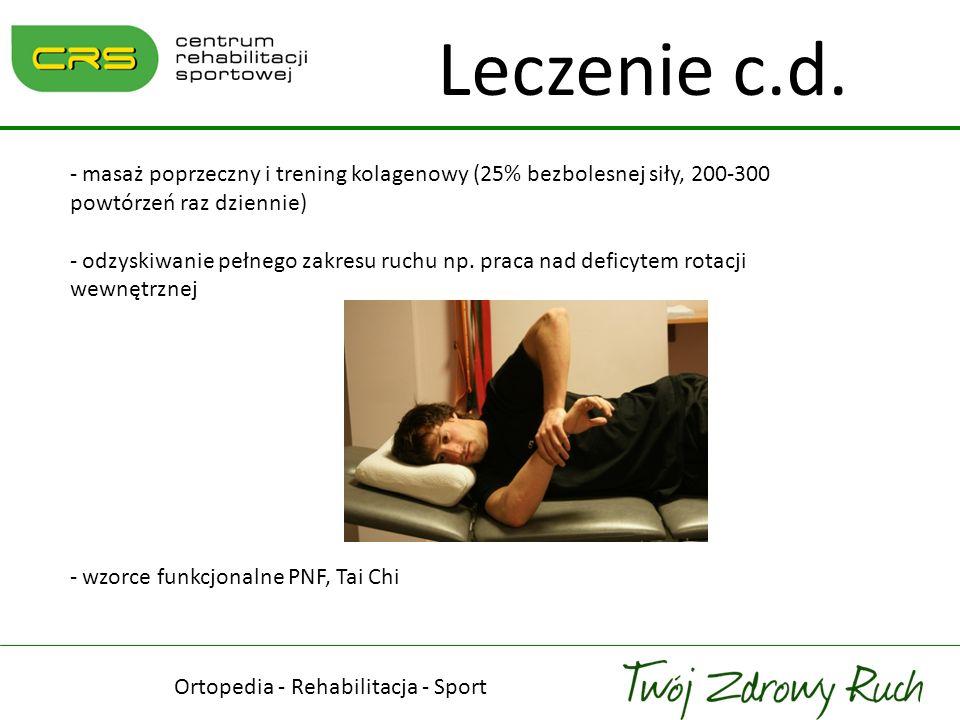 Ortopedia - Rehabilitacja - Sport Leczenie c.d. - masaż poprzeczny i trening kolagenowy (25% bezbolesnej siły, 200-300 powtórzeń raz dziennie) - odzys