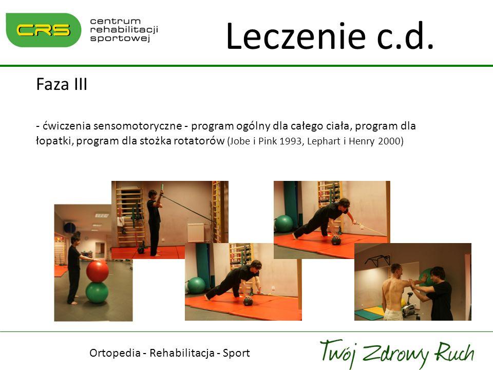 Ortopedia - Rehabilitacja - Sport Leczenie c.d. Faza III - ćwiczenia sensomotoryczne - program ogólny dla całego ciała, program dla łopatki, program d