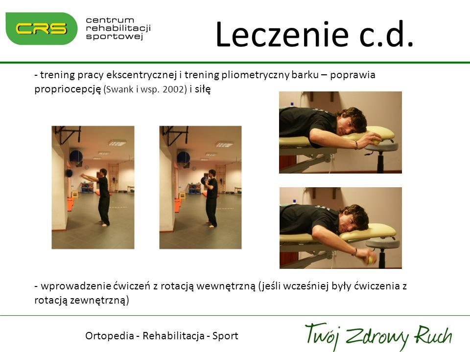 Ortopedia - Rehabilitacja - Sport Leczenie c.d. - trening pracy ekscentrycznej i trening pliometryczny barku – poprawia propriocepcję (Swank i wsp. 20