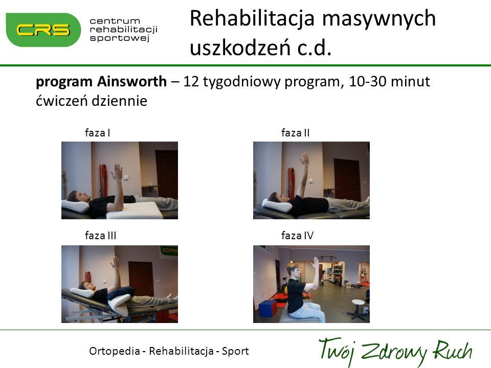 Ortopedia - Rehabilitacja - Sport ćwiczenia dodatkowe obniżające głowę kości ramiennej 4 sposoby: - ucisk taśmą na głowę kości ramiennej - przywodzenie izometryczne Rehabilitacja masywnych uszkodzeń c.d.