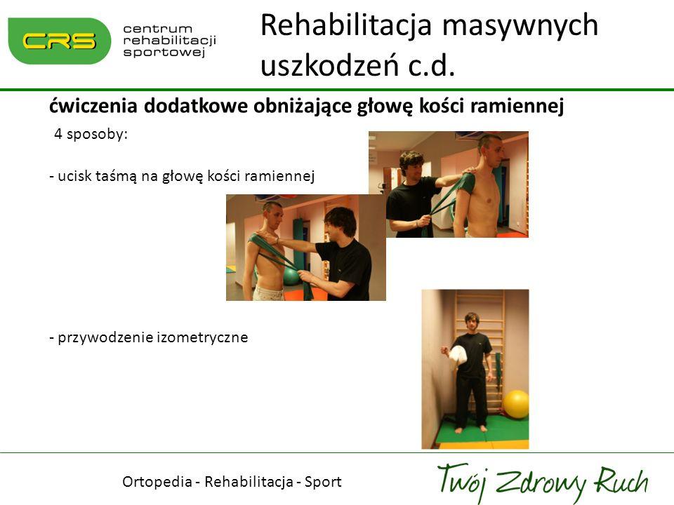 Ortopedia - Rehabilitacja - Sport ćwiczenia dodatkowe obniżające głowę kości ramiennej 4 sposoby: - ucisk taśmą na głowę kości ramiennej - przywodzeni