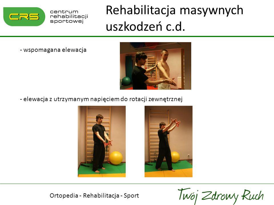Ortopedia - Rehabilitacja - Sport - wspomagana elewacja - elewacja z utrzymanym napięciem do rotacji zewnętrznej Rehabilitacja masywnych uszkodzeń c.d