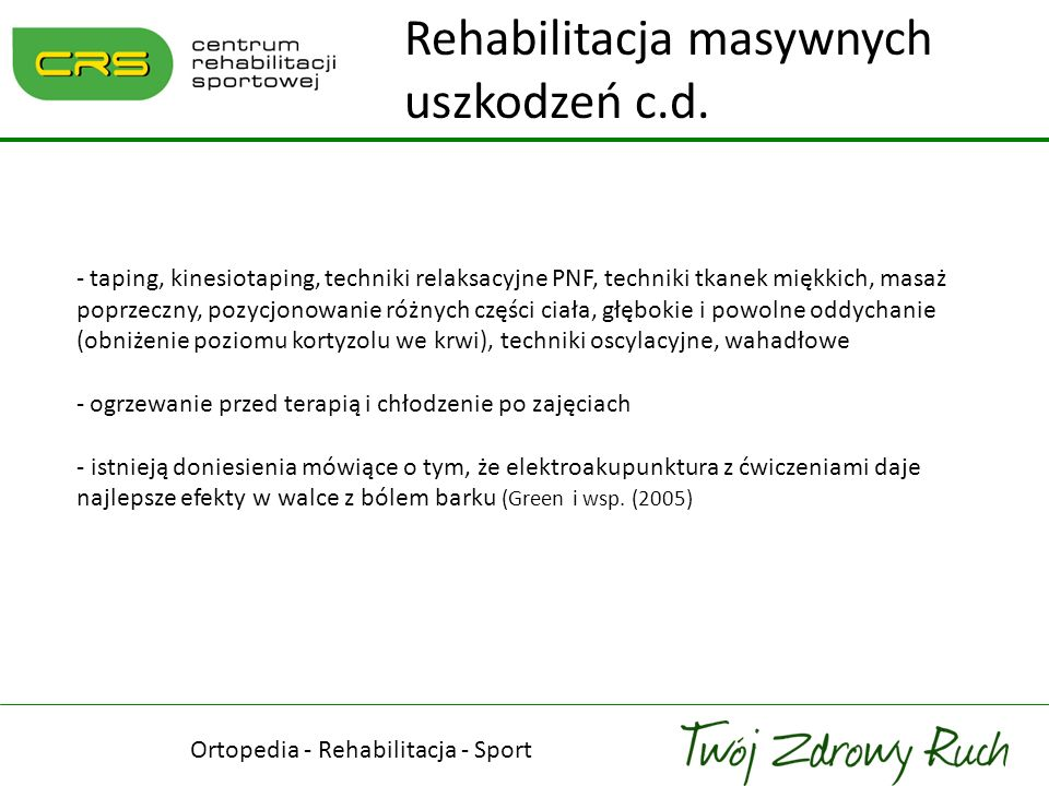 Ortopedia - Rehabilitacja - Sport Podsumowanie - nie ma badań naukowych jednoznacznie potwierdzających rolę wyrostka barkowego w etiologii zespołu cieśni podbarkowej i chorobie stożka rotatorów - etiologia choroby stożka rotatorów jest wieloczynnikowa - badania histologiczne sugerują tendinosis (zmiany o charakterze zwyrodnieniowym) a nie tendinitis (zmiany o charakterze zapalnym) stożka rotatorów - tylko ból stały i nocny oznacza zapalenie kaletki (Santavirta i wsp.