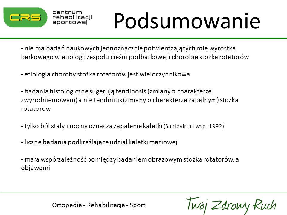 Ortopedia - Rehabilitacja - Sport Podsumowanie - nie ma badań naukowych jednoznacznie potwierdzających rolę wyrostka barkowego w etiologii zespołu cie