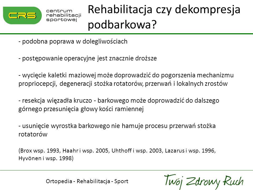 Ortopedia - Rehabilitacja - Sport Rehabilitacja czy dekompresja podbarkowa? - podobna poprawa w dolegliwościach - postępowanie operacyjne jest znaczni