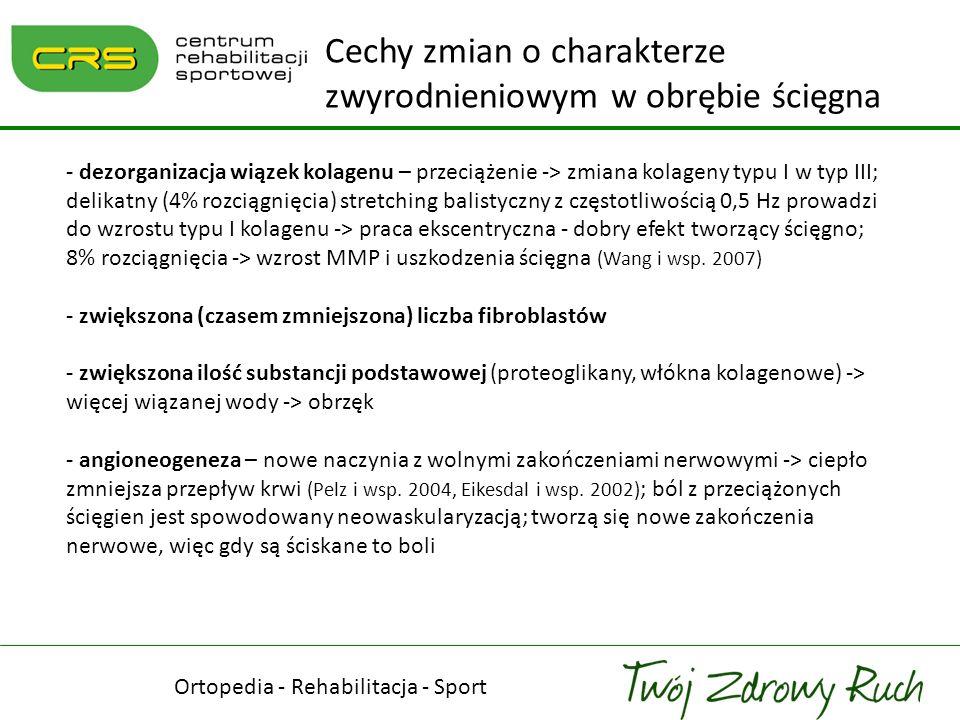 - dezorganizacja wiązek kolagenu – przeciążenie -> zmiana kolageny typu I w typ III; delikatny (4% rozciągnięcia) stretching balistyczny z częstotliwo
