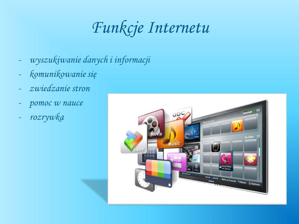 Funkcje Internetu -wyszukiwanie danych i informacji -komunikowanie się -zwiedzanie stron -pomoc w nauce - rozrywka