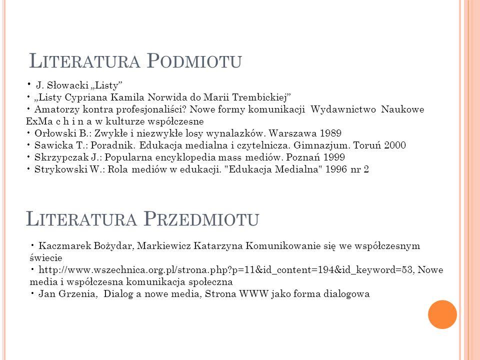 L ITERATURA P ODMIOTU L ITERATURA P RZEDMIOTU J. Słowacki Listy Listy Cypriana Kamila Norwida do Marii Trembickiej Amatorzy kontra profesjonaliści? No