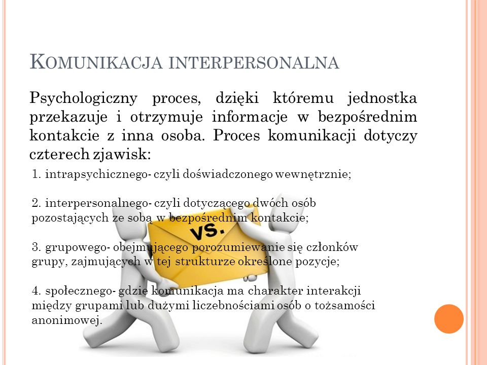 K OMUNIKACJA INTERPERSONALNA 1. intrapsychicznego- czyli doświadczonego wewnętrznie; 2. interpersonalnego- czyli dotyczącego dwóch osób pozostających