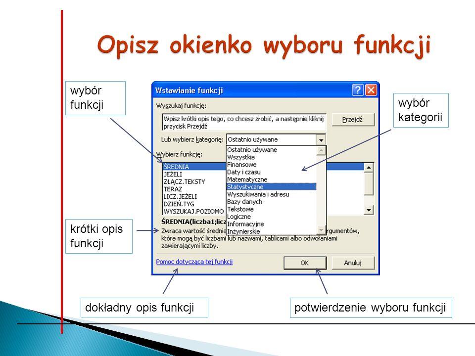 wybór kategorii potwierdzenie wyboru funkcjidokładny opis funkcji krótki opis funkcji wybór funkcji