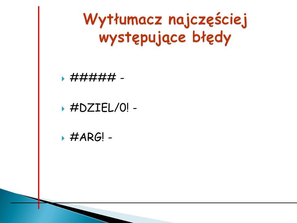 ##### - #DZIEL/0! - #ARG! -