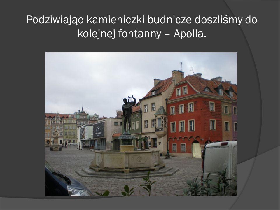 Podziwiając kamieniczki budnicze doszliśmy do kolejnej fontanny – Apolla.