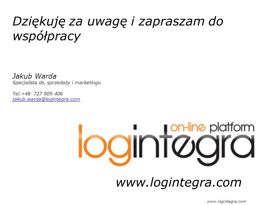 Dziękuję za uwagę i zapraszam do współpracy Jakub Warda Specjalista ds. sprzedaży i marketingu Tel.+48 727 909 406 jakub.warda@logintegra.com www.logi