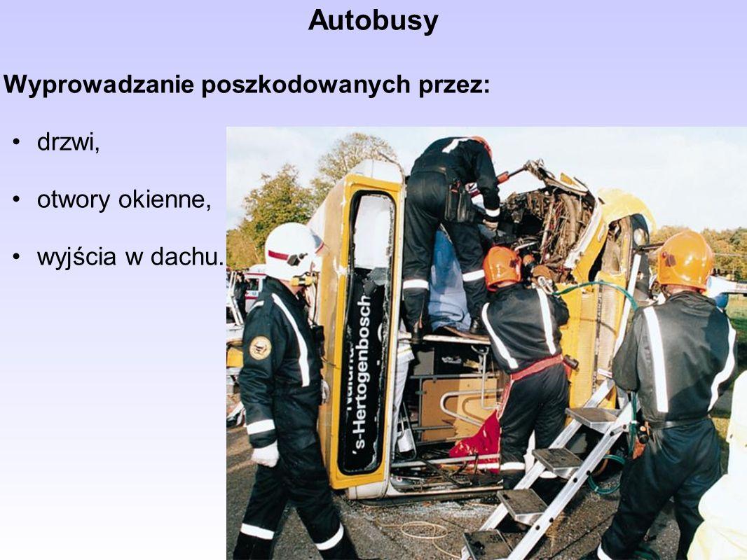 Autobusy Wyprowadzanie poszkodowanych przez: drzwi, otwory okienne, wyjścia w dachu.