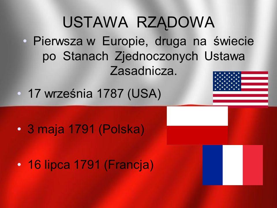 USTAWA RZĄDOWA Pierwsza w Europie, druga na świecie po Stanach Zjednoczonych Ustawa Zasadnicza. 17 września 1787 (USA) 3 maja 1791 (Polska) 16 lipca 1