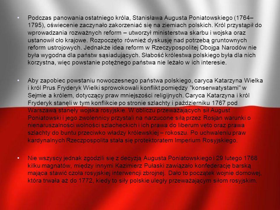 Główne założenia: Wprowadzenie monarchii parlamentarnej Król głową państwa Dwuizbowy sejm (wybierany na dwuletnią kadencję) Trójpodział władzy (ustawodawcza, wykonawcza oraz sądownicza) Wolność wyznania Zachowanie swobód szlachty oraz ustawowa ochrona chłopów Zlikwidowano: Odrębność urzędów Polski i Litwy Konfederacje Liberum Veto Wolne elekcje