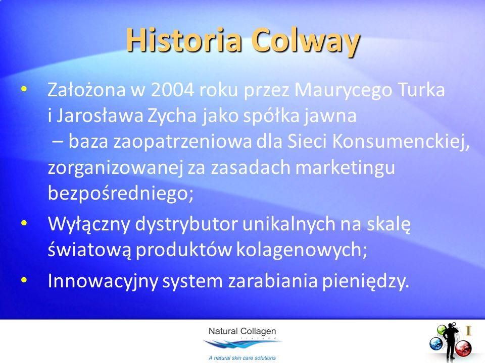 Historia Colway Założona w 2004 roku przez Maurycego Turka i Jarosława Zycha jako spółka jawna – baza zaopatrzeniowa dla Sieci Konsumenckiej, zorganiz