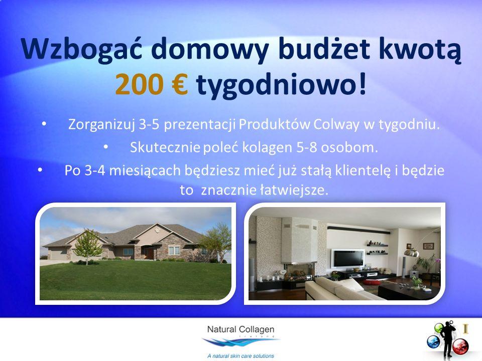 Wzbogać domowy budżet kwotą 200 tygodniowo! Zorganizuj 3-5 prezentacji Produktów Colway w tygodniu. Skutecznie poleć kolagen 5-8 osobom. Po 3-4 miesią