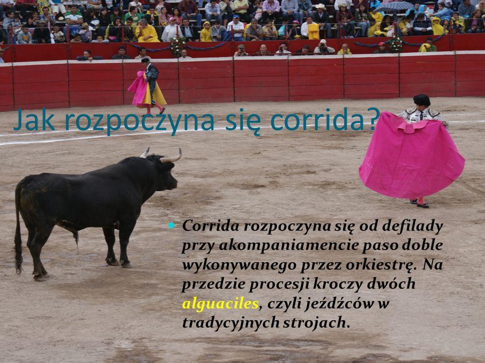 Jak rozpoczyna się corrida? Corrida rozpoczyna się od defilady przy akompaniamencie paso doble wykonywanego przez orkiestrę. Na przedzie procesji kroc